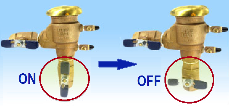 Each Has A Handle That Ears As T Shaped Lever On The Backflow Device Rotate Either Of Them In Clock Wise Direction To Shut